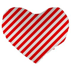 Christmas Red And White Candy Cane Stripes Large 19  Premium Heart Shape Cushions by PodArtist