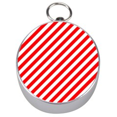 Christmas Red And White Candy Cane Stripes Silver Compasses by PodArtist