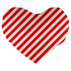 Christmas Red And White Candy Cane Stripes Large 19  Premium Flano Heart Shape Cushions by PodArtist