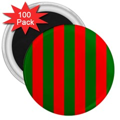 Wide Red And Green Christmas Cabana Stripes 3  Magnets (100 Pack) by PodArtist