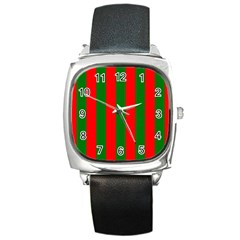 Wide Red And Green Christmas Cabana Stripes Square Metal Watch by PodArtist