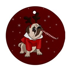 Pug Xmas Round Ornament (two Sides) by Valentinaart