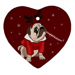 Pug Xmas Heart Ornament (two Sides)