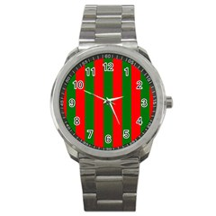 Wide Red And Green Christmas Cabana Stripes Sport Metal Watch by PodArtist