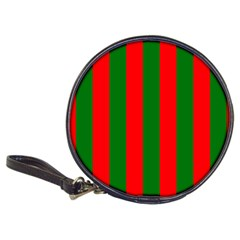 Wide Red And Green Christmas Cabana Stripes Classic 20 Cd Wallets by PodArtist