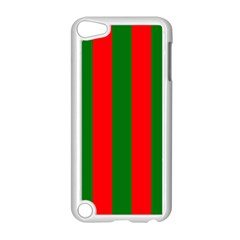 Wide Red And Green Christmas Cabana Stripes Apple Ipod Touch 5 Case (white) by PodArtist