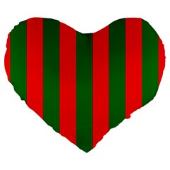Wide Red And Green Christmas Cabana Stripes Large 19  Premium Heart Shape Cushions by PodArtist