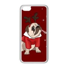 Pug Xmas Apple Iphone 5c Seamless Case (white) by Valentinaart