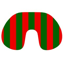 Wide Red And Green Christmas Cabana Stripes Travel Neck Pillows by PodArtist