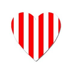 Wide Red And White Christmas Cabana Stripes Heart Magnet by PodArtist
