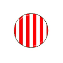Wide Red And White Christmas Cabana Stripes Hat Clip Ball Marker by PodArtist