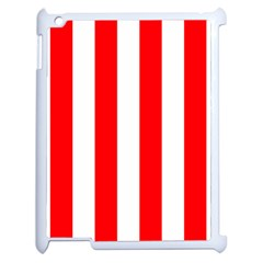 Wide Red And White Christmas Cabana Stripes Apple Ipad 2 Case (white) by PodArtist