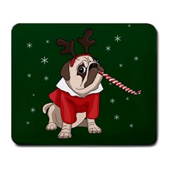 Pug Xmas Large Mousepads by Valentinaart