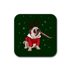 Pug Xmas Rubber Square Coaster (4 Pack)  by Valentinaart