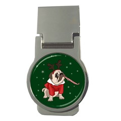 Pug Xmas Money Clips (round)  by Valentinaart