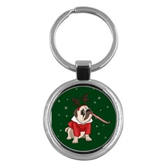Pug Xmas Key Chains (round)  by Valentinaart