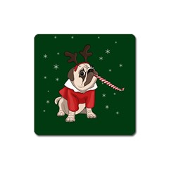 Pug Xmas Square Magnet by Valentinaart