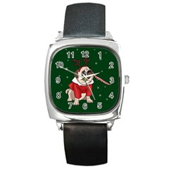 Pug Xmas Square Metal Watch by Valentinaart