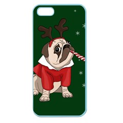 Pug Xmas Apple Seamless Iphone 5 Case (color) by Valentinaart