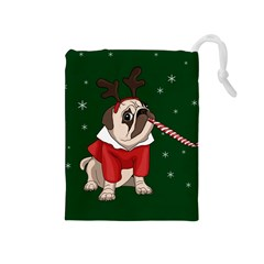 Pug Xmas Drawstring Pouches (medium)  by Valentinaart