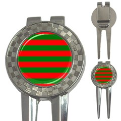 Red And Green Christmas Cabana Stripes 3 In 1 Golf Divots by PodArtist