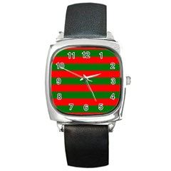 Red And Green Christmas Cabana Stripes Square Metal Watch by PodArtist