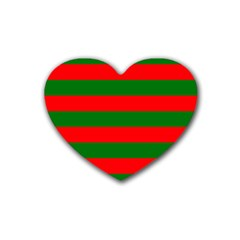 Red And Green Christmas Cabana Stripes Rubber Coaster (heart)  by PodArtist