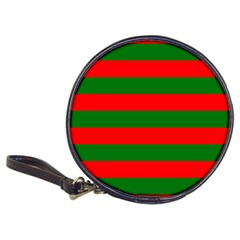 Red And Green Christmas Cabana Stripes Classic 20 Cd Wallets by PodArtist