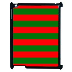 Red And Green Christmas Cabana Stripes Apple Ipad 2 Case (black) by PodArtist