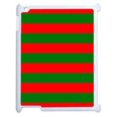 Red And Green Christmas Cabana Stripes Apple Ipad 2 Case (white) by PodArtist