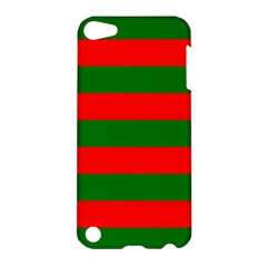 Red And Green Christmas Cabana Stripes Apple Ipod Touch 5 Hardshell Case by PodArtist