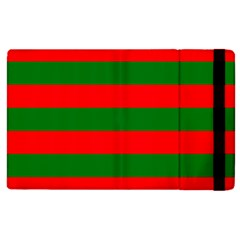 Red And Green Christmas Cabana Stripes Apple Ipad 2 Flip Case by PodArtist