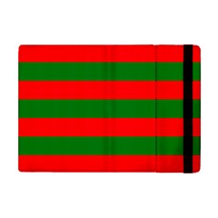 Red And Green Christmas Cabana Stripes Apple Ipad Mini Flip Case by PodArtist