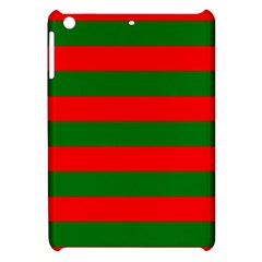 Red And Green Christmas Cabana Stripes Apple Ipad Mini Hardshell Case by PodArtist
