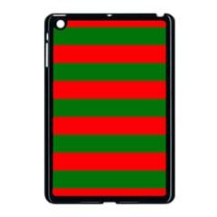 Red And Green Christmas Cabana Stripes Apple Ipad Mini Case (black) by PodArtist