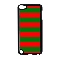 Red And Green Christmas Cabana Stripes Apple Ipod Touch 5 Case (black) by PodArtist