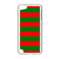Red And Green Christmas Cabana Stripes Apple Ipod Touch 5 Case (white) by PodArtist