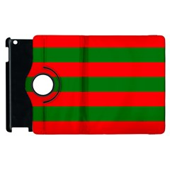 Red And Green Christmas Cabana Stripes Apple Ipad 2 Flip 360 Case by PodArtist