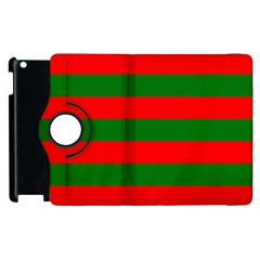 Red And Green Christmas Cabana Stripes Apple Ipad 3/4 Flip 360 Case by PodArtist