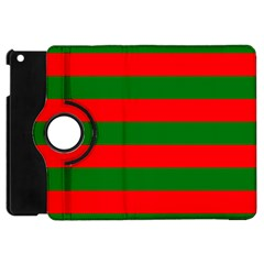 Red And Green Christmas Cabana Stripes Apple Ipad Mini Flip 360 Case by PodArtist