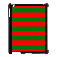 Red And Green Christmas Cabana Stripes Apple Ipad 3/4 Case (black) by PodArtist