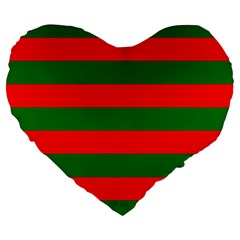 Red And Green Christmas Cabana Stripes Large 19  Premium Heart Shape Cushions by PodArtist