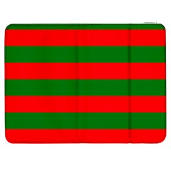 Red And Green Christmas Cabana Stripes Samsung Galaxy Tab 7  P1000 Flip Case by PodArtist