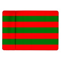 Red And Green Christmas Cabana Stripes Samsung Galaxy Tab 10 1  P7500 Flip Case by PodArtist