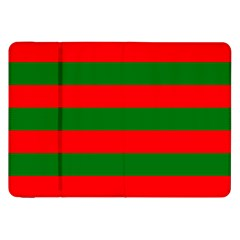 Red And Green Christmas Cabana Stripes Samsung Galaxy Tab 8 9  P7300 Flip Case by PodArtist