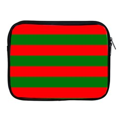 Red And Green Christmas Cabana Stripes Apple Ipad 2/3/4 Zipper Cases by PodArtist