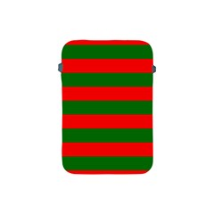 Red And Green Christmas Cabana Stripes Apple Ipad Mini Protective Soft Cases by PodArtist
