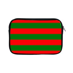 Red And Green Christmas Cabana Stripes Apple Ipad Mini Zipper Cases by PodArtist