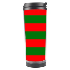 Red And Green Christmas Cabana Stripes Travel Tumbler by PodArtist