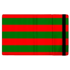 Red And Green Christmas Cabana Stripes Apple Ipad Pro 9 7   Flip Case by PodArtist
